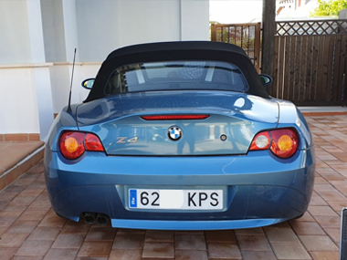BMW Z4 with new Spanish reg plates