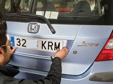 Honda Jazz with new Spanish plates