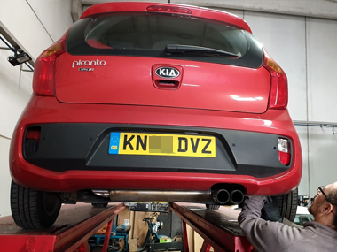 Kia Picanto up on workshop ramp