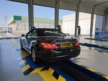 Mercedes E250 AMG Cabrio has suspension checked at ITV