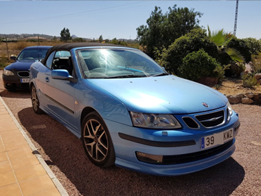 Blue Saab with new reg plates