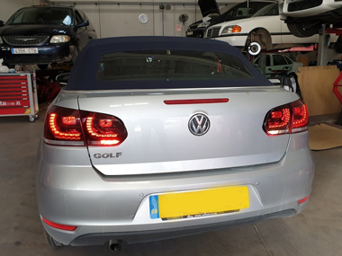 VW Golf Cabrio in workshop