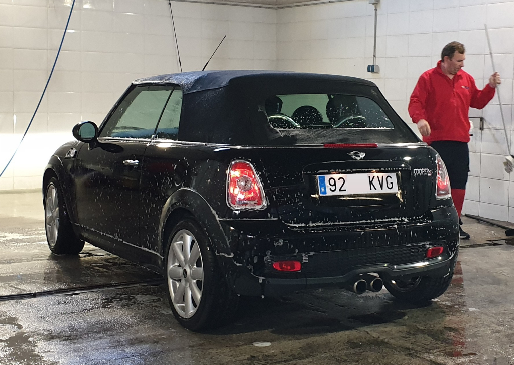 Mini Cooper S being washed